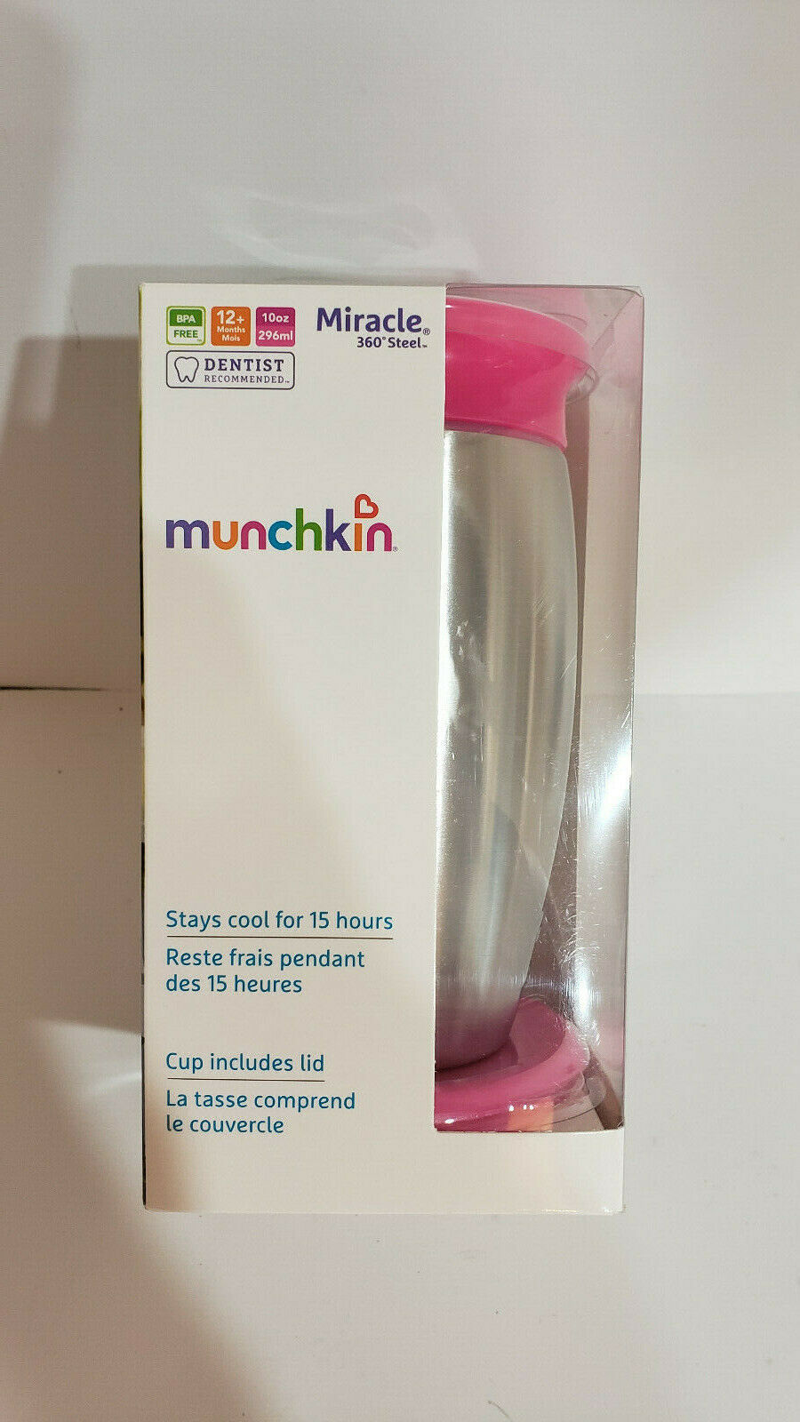 **NEW** Munchkin Miracle 360 Stainless Steel 10oz Sippy Cup ~ Pink ~
