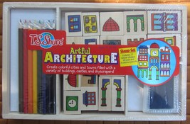 T.S. Shure Art Kit Architecture Wooden Stamp Set w stamps ink pad color ... - $8.59