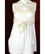 ABERCROMBIE & FITCH cream spaghetti strap cotton blend blouse Jr S (T20-... - $9.88