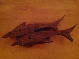 Vintage Handmade Wood Dolphin Wall Art Plaque 3D Ocean Fish Beach - $14.50