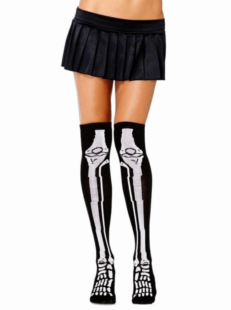 Leg Avenue Womens Acrylic Skeleton Over the Knee Socks Halloween Costume Hosiery - $8.56