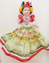 "Hungarian Folk Dress DOLL Hand Crafted Embellished Plush 17"" VINTAGE - $69.25"