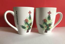 Lot Of 2 Starbucks Coffee Mugs 2011 Double Print Christmas Tree Holiday ... - $24.14