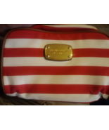 Michael Kors Red & White Stripped Makeup Cosmetic Bag Clutch Purse - $14.99