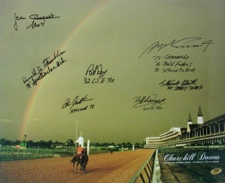 Primary image for Pat Day signed Churchill Downs Kentucky Derby Winners (1992) Horse Racing Rainbo