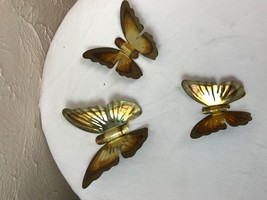 HOME INTERIORS Gold METAL Set of 3 BUTTERFLY Wall PLAQUES butterflies (2) - $9.46