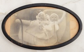 antique victorian RPPC in METAL FRAME~  BARGER TWINS PHOTO baby wicker c... - $34.95