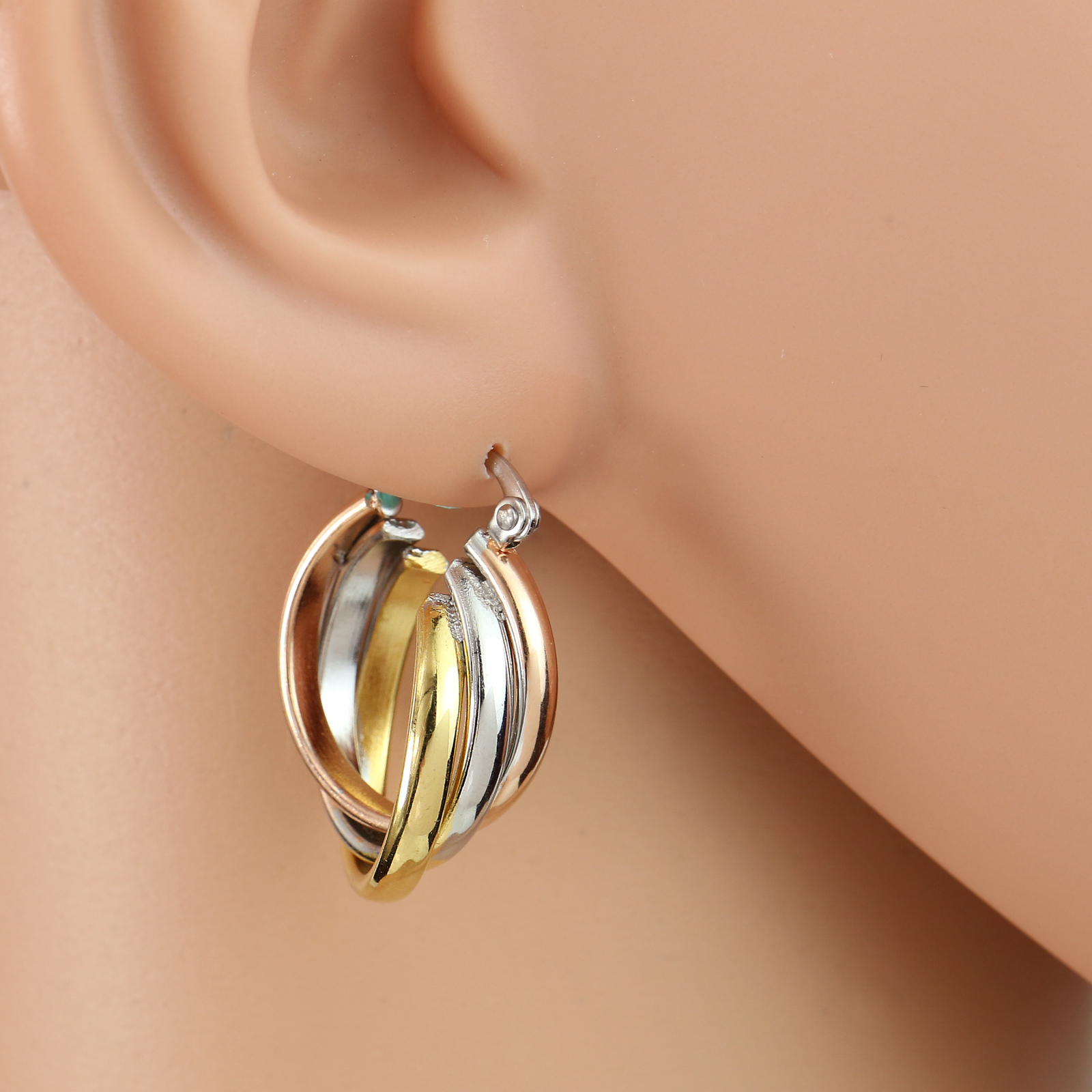 Large Twisted Tri-Color Silver, Gold & Rose Tone Hoop Earrings- United Elegance