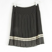 Black ivory polka dot 100% silk ANNE KLEIN pleated skirt 6 - $24.99