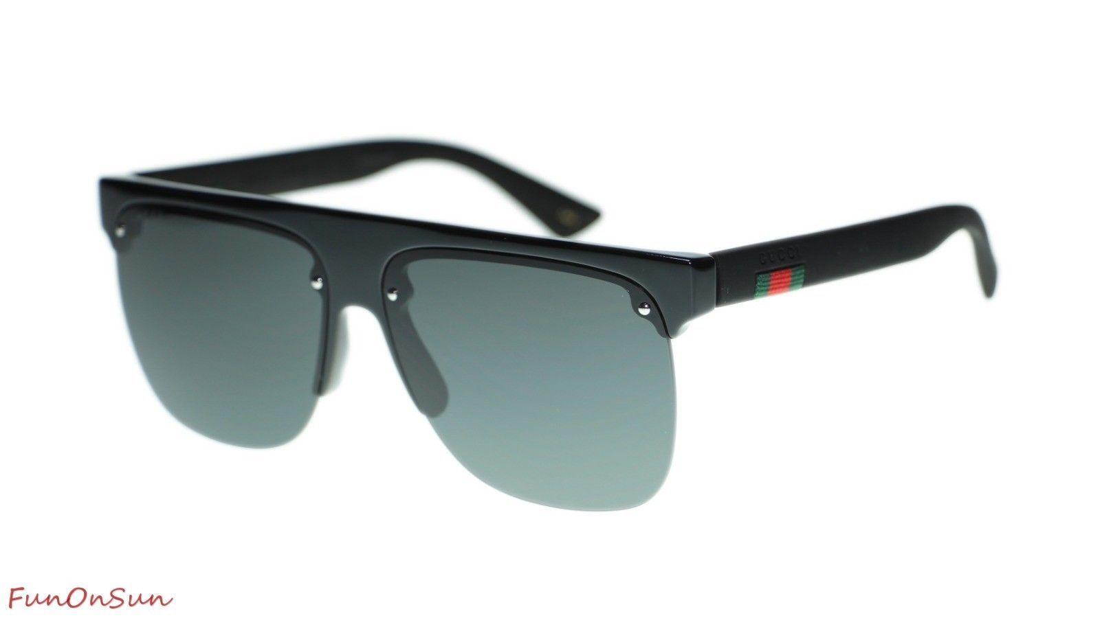 b6480b03d55 10. 10. Previous. NEW Gucci Men Sunglasses GG0171S 002 Black Grey Lens  Pilot 60mm Authentic
