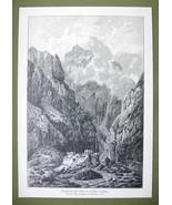 RUSSIA Caucasus Eng Pass & Fort Darial  - VICTORIAN Era Print - $13.76