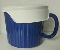 Corning Ware 20 oz. Blue Stoneware Soup Bowl Mug Microwavable w/ Lid G 10 - $19.99