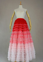 Bridal Tiered Tulle Skirt Outfit A-line Full Tulle Wedding Party Skirt,Red white image 9