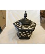 Ceramic 6 Sided Decorative Trinket Jar with Lid Black, White Animal Prin... - $66.83