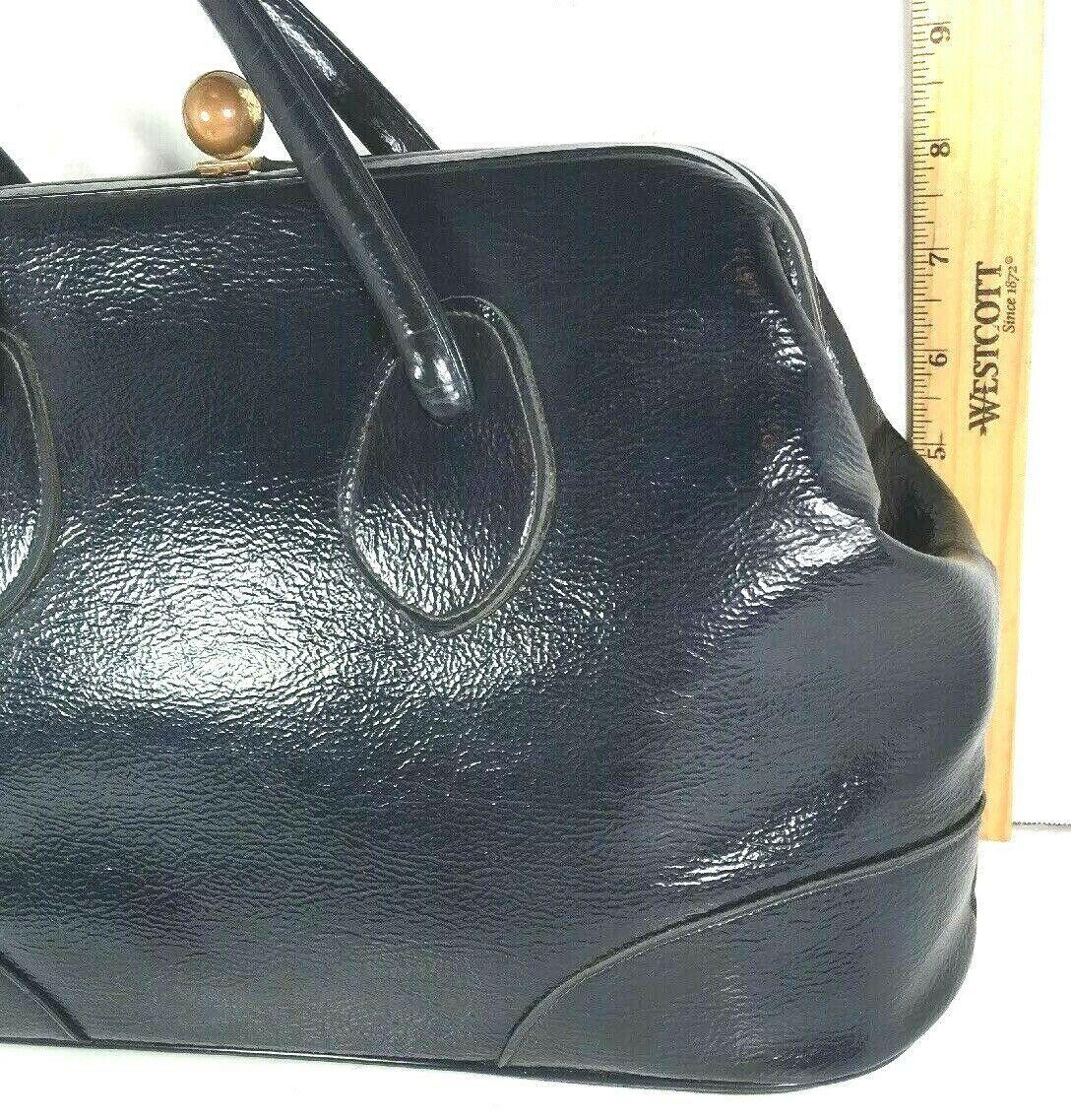 Garay True Vintage Large Navy Blue Faux Leather Handbag