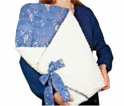 BABY BLANKET SWADDLE WRAP SLEEPING BAG NEWBORN INFANT MINKY COTTON BLUE ... - $73.69
