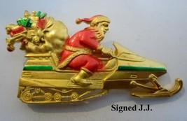 1980's Signed JJ Jonette Jewelry Christmas Santa Claus on SnowMobile Bro... - $12.95