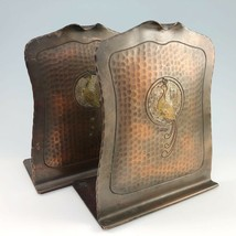 Craftsman Studios Hammered Copper Bookends Peacock Arts Crafts Mission V... - $428.95
