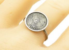 925 Sterling Silver - Vintage Mayan Aztec Sun Calendar Band Ring Sz 10 -... - $20.70