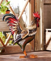 "13.5"" Iron Standing Rooster Design Statuary"