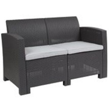 Outdoor Loveseat Furniture with Light Gray Cushioned Rattan Stylish Pati... - $117.89
