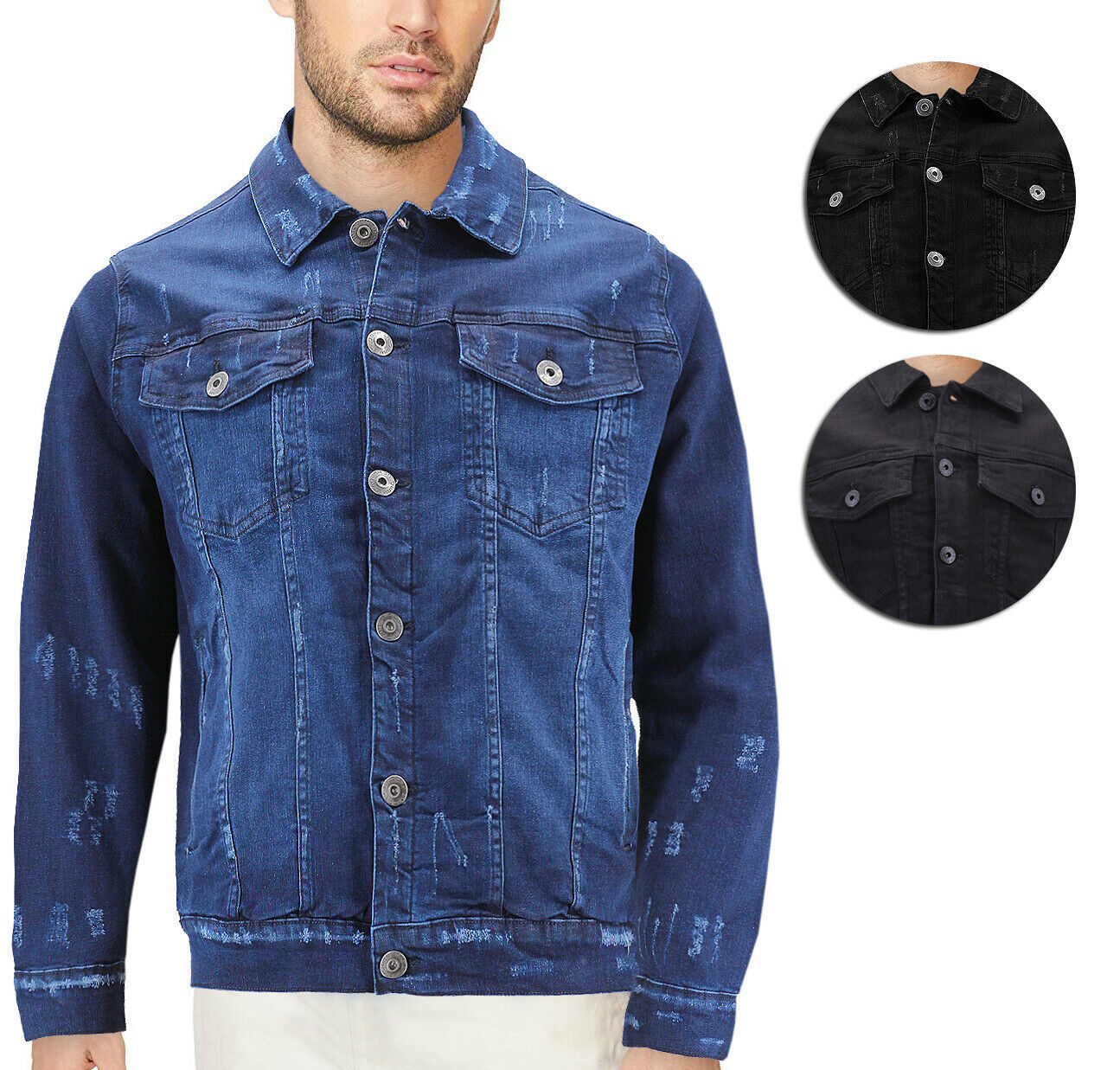 Men's Classic Distressed Casual Button Up Stretch Jean Trucker Denim Jacket