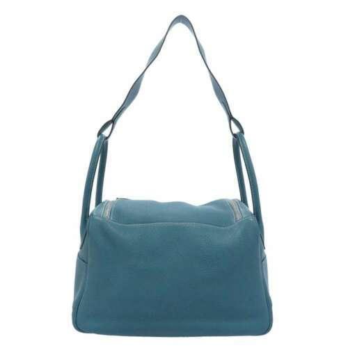 HERMES Lindy 34 Taurillon Clemence Blue Jean Handbag Shoulder Bag #Q Authentic image 3