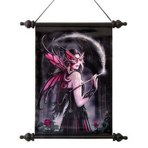 Sorceress Witch Fairy with Dragon Waving Wand Wall Scroll Tapestry - $879,56 MXN