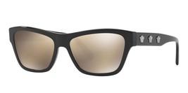 Versace Women Rectangular Sunglasses VE4344 GB1/1V Black Frame Brown/Gol... - $97.02