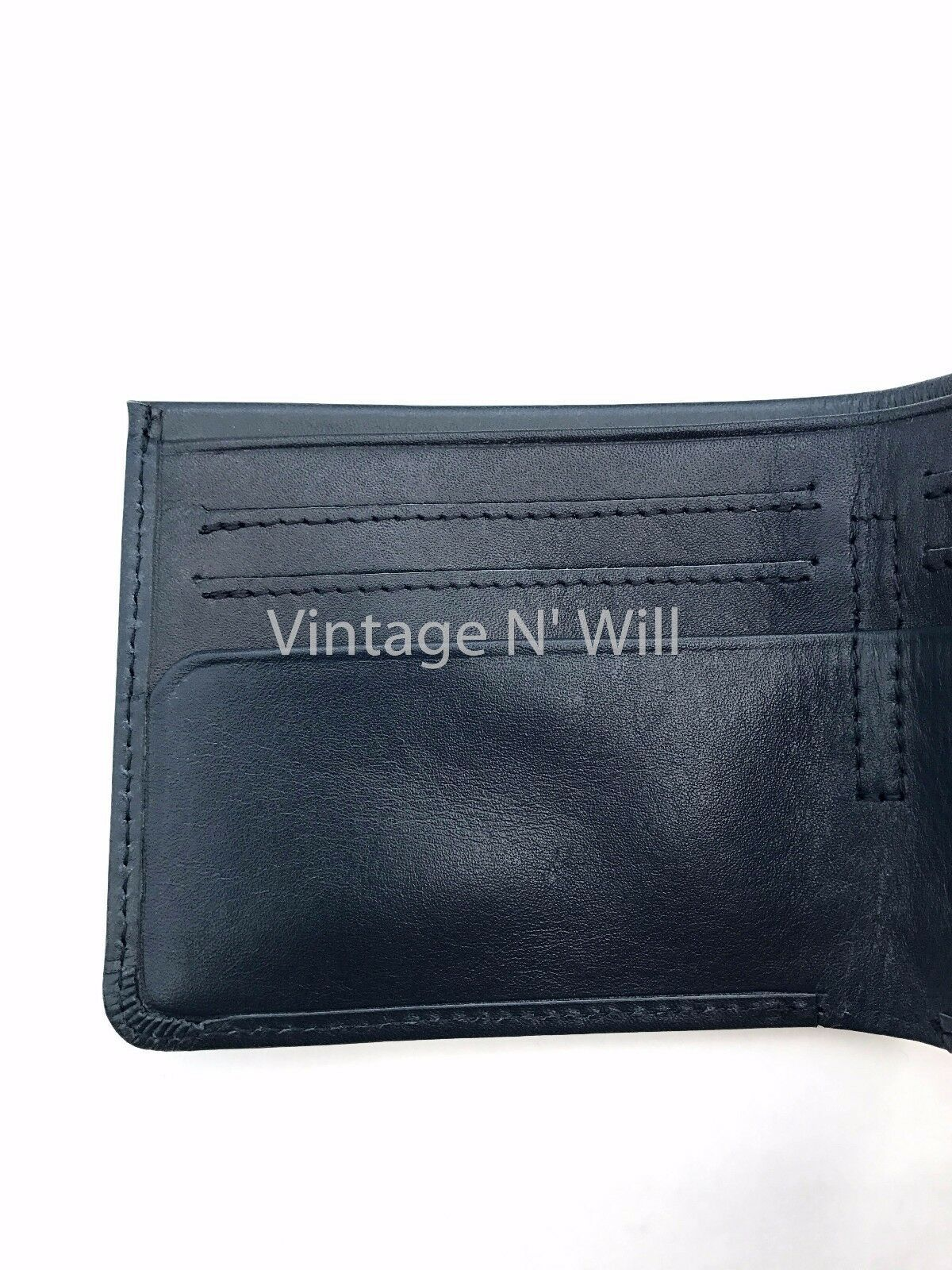 Levis Jeans Mens 511 Slim Navy Blue Genuine Leather Wallet Billfold Bifold Card image 6