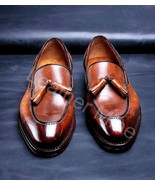 Men's Handmade Brown Leather Patina Tassel Loafers Shoes For Men - $159.99+