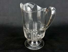 Footed Glass Water Pitcher, Patterned Spout & Lower Body, 1880s EAPG, An... - $48.95