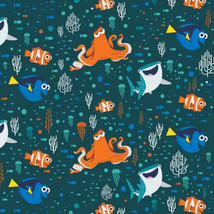 Disney Finding Dory Characters & Coral Camelot 100% cotton Fabric Remnan... - $8.82