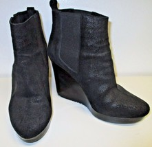 JIMMY CHOO Black Nubuck Leather Wedge Booties with Elastic Inserts - Size 40 - $133.65