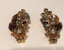 Vintage  signed Beau jewels clip on earrings missing one stone  - $2.63
