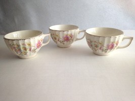 Vintage Teacups Ribbed Textured Ceramic Floral Gold Trim 2.5''Tall  3 pc... - $14.45