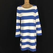J.Crew Dress Sm S Long Sl T Shirt Off White Blue Stripe Zip Hem Pullover... - $19.95