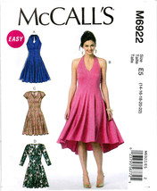 McCall's M6922 Misses Womens Sewing Pattern Halter Dresses Sizes 14-16-18-20-22 - $7.25