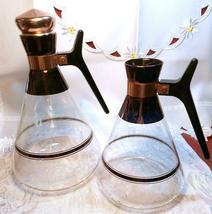 2 Vintage Inland Coffee Warmers, Blown Glass Carafes On Stand 1 Missing Cap  image 4