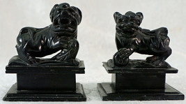 Pair Chinese Black Hard Stone Hand Carved Miniature Foo Dog Lion Figure ... - $150.00