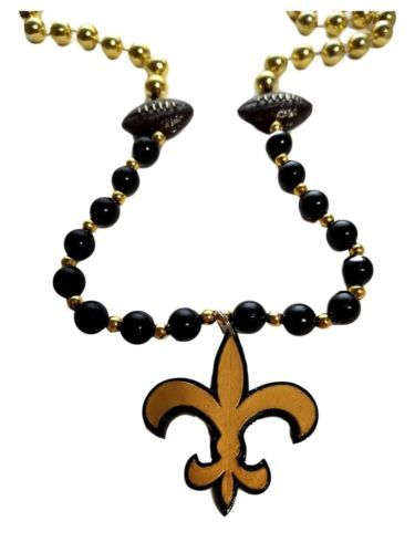 Fleur De Lis Black Gold with Football Mardi Gras Beads Party Favor