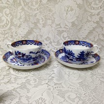 Antique, England, Royal Worcester Variant, Gaudy Blue Willow 2 Cups n 2 ... - $118.70