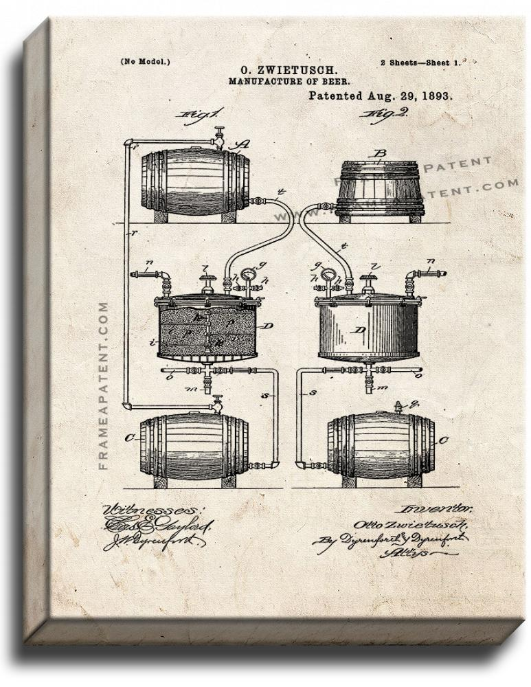 Primary image for Manufacture Of Beer Patent Print Old Look on Canvas