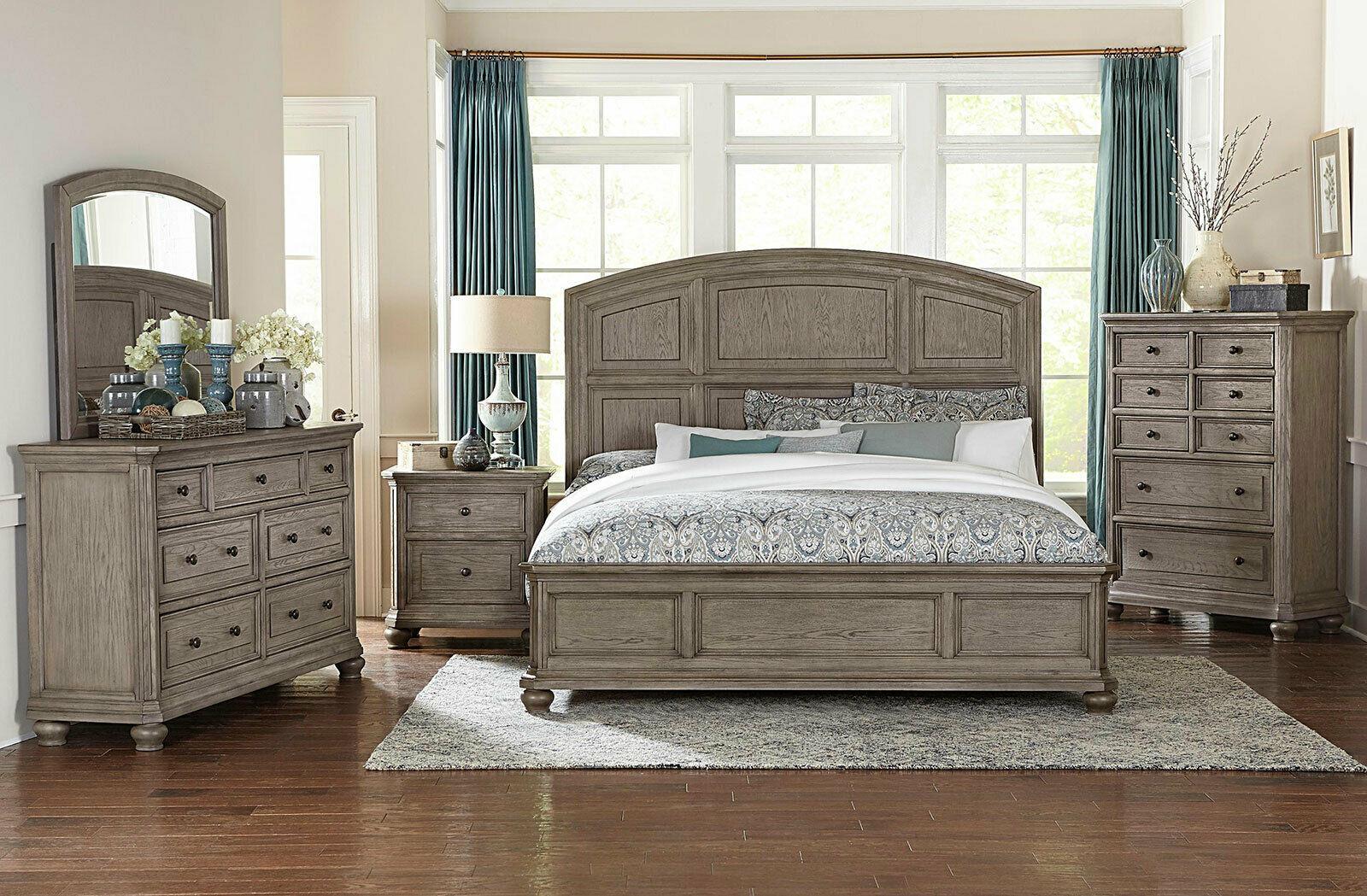 holden 5 pieces traditional rustic gray oak bedroom set w