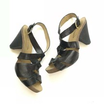 Franco Sarto Unreal Strappy Leather Sandals Heels Women 8 Black Shoes - $29.65