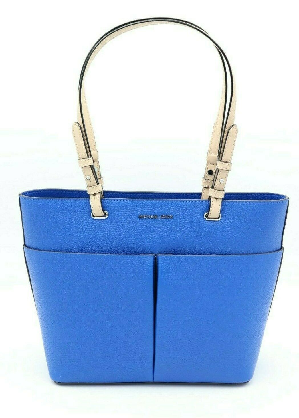Primary image for NWT MICHAEL Michael Kors Bedford Blue Leather Medium Top Zip Pocket Tote Bag New