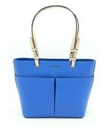 NWT MICHAEL Michael Kors Bedford Blue Leather Medium Top Zip Pocket Tote... - $128.00