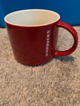 Starbucks Coffee 2012 Red  White  Etched Logo Stackable Tea Mug Cup 14 oz - $49.49