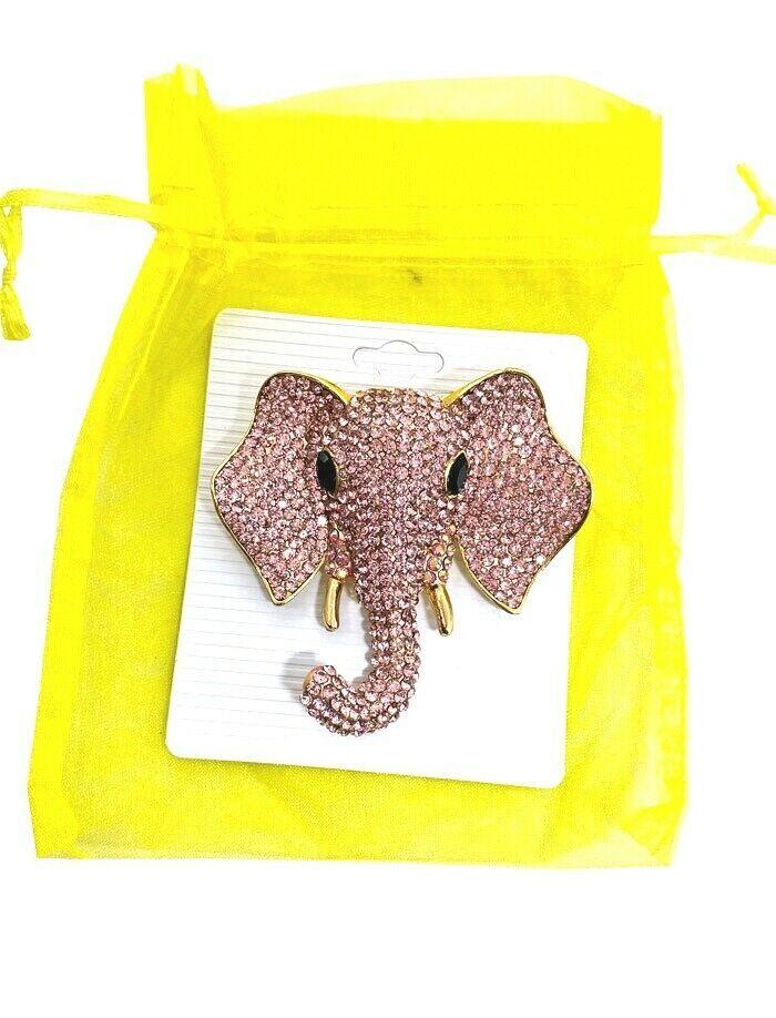 "3"" Tall Pink Acrylic Rhinestones Large Elephant Head Brooch Pin Animal Jewelry - $20.90"