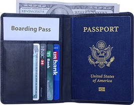 AurDo RFID Blocking Real Leather Passport Holder Cover Case & Travel Wal... - $19.49